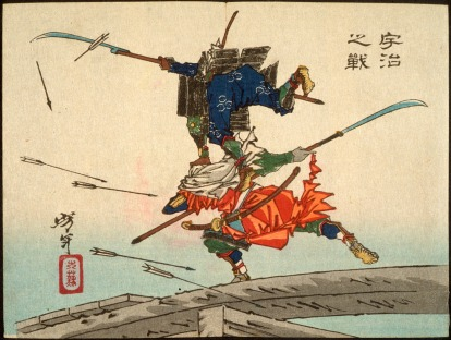 """The Battle of Uji Bridge"" -- A brilliant example of the dynamic illustration of combat in feudal Japanese artwork."